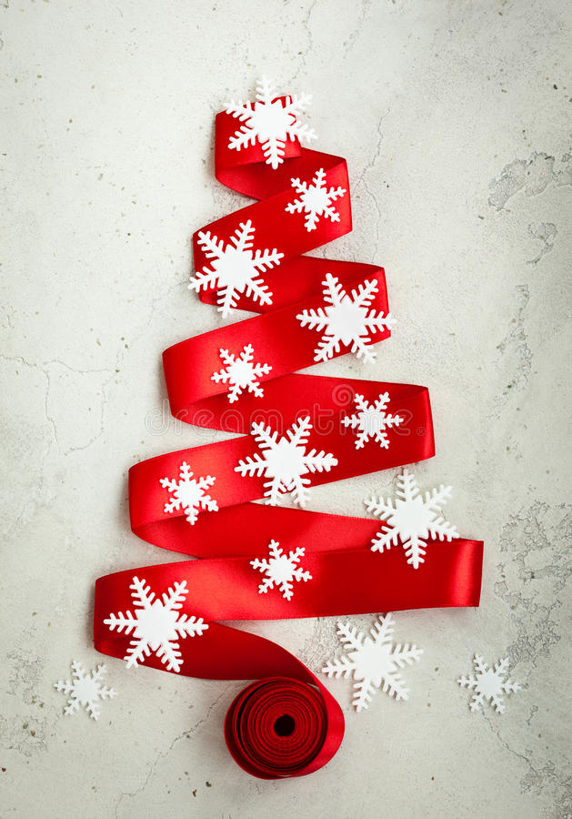 Red ribbon christmas tree royalty free stock photo image for Red ribbon around tree