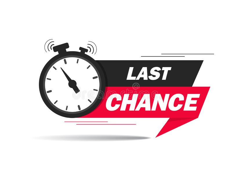 Red ribbon with clock and last chance seal. Sale banner with countdown alarm clock for retail, shop, social media, advertising. Promo label with last chance royalty free illustration