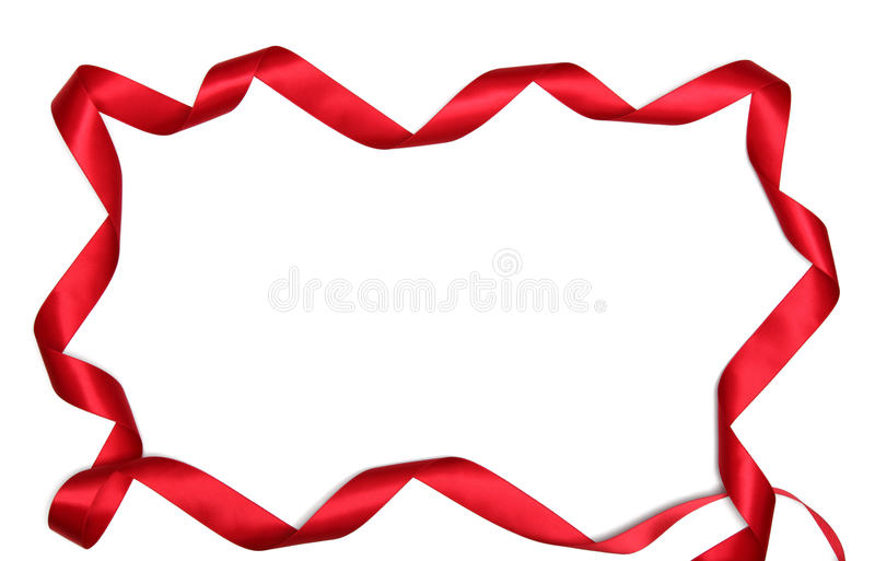 Red ribbon frame. On white background with copy space royalty free stock photo