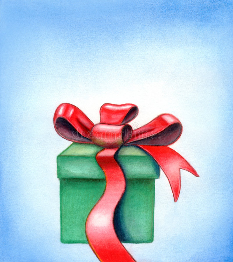 Red ribbon gift box. Red ribbon on a gift box. Hand painted illustration stock illustration