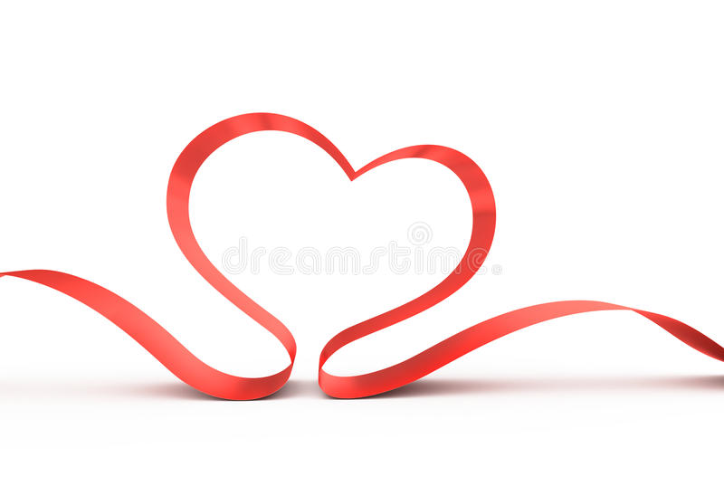 Red ribbon in a heart shape. royalty free illustration
