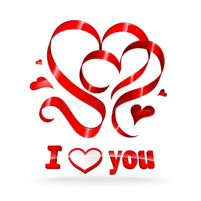 Red ribbon hearts stock photo