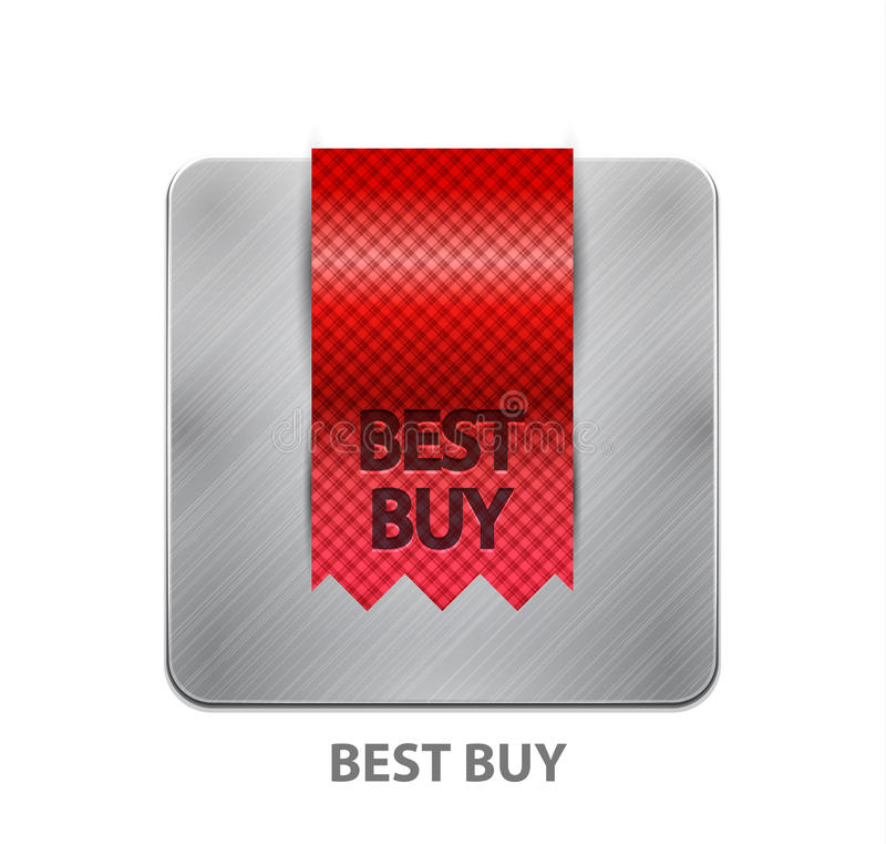 Red ribbon mobile app button stock illustration