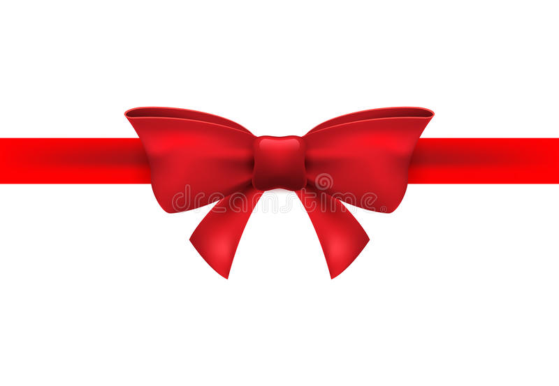 Red ribbon with red bow on a white background. Vector isolated bow decoration for holiday present. Gift element for card design stock illustration