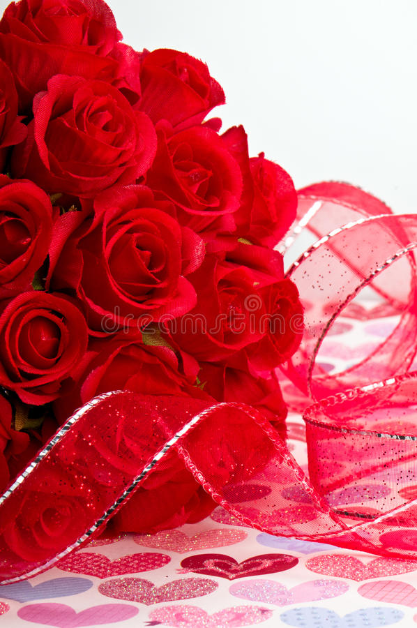 Red Ribbon and Roses stock image