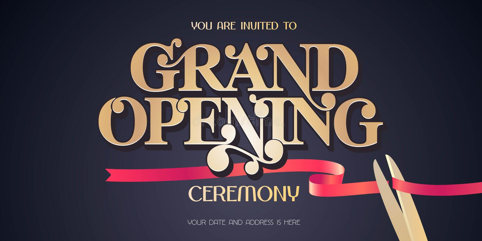 Red ribbon and scissors design element for invitation card to grand opening ceremony. Store opening soon invite royalty free illustration