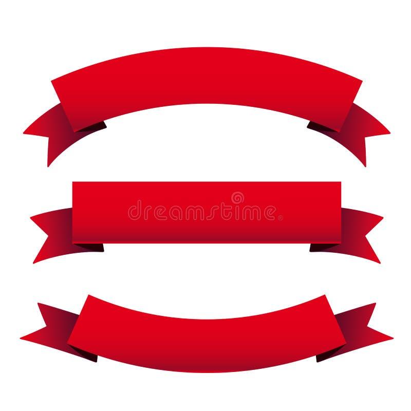 Red ribbon set royalty free illustration