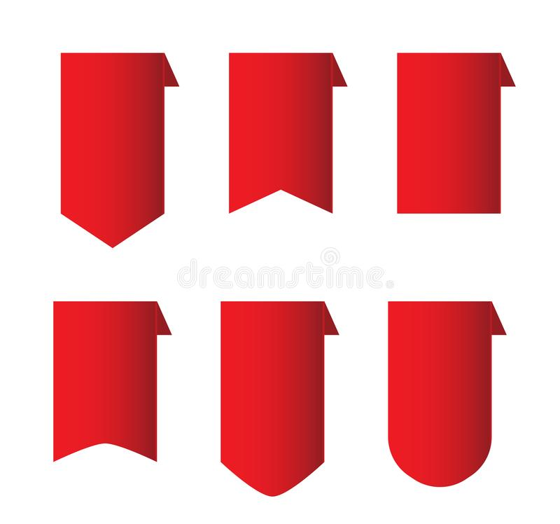 Red ribbon set on white background. vector red ribbon banner. s. Ilk tape with curled corners stock illustration