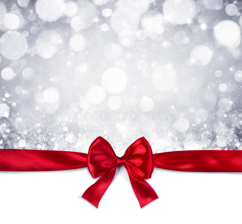 Red Ribbon With Shiny Silver Background Stock Image ...