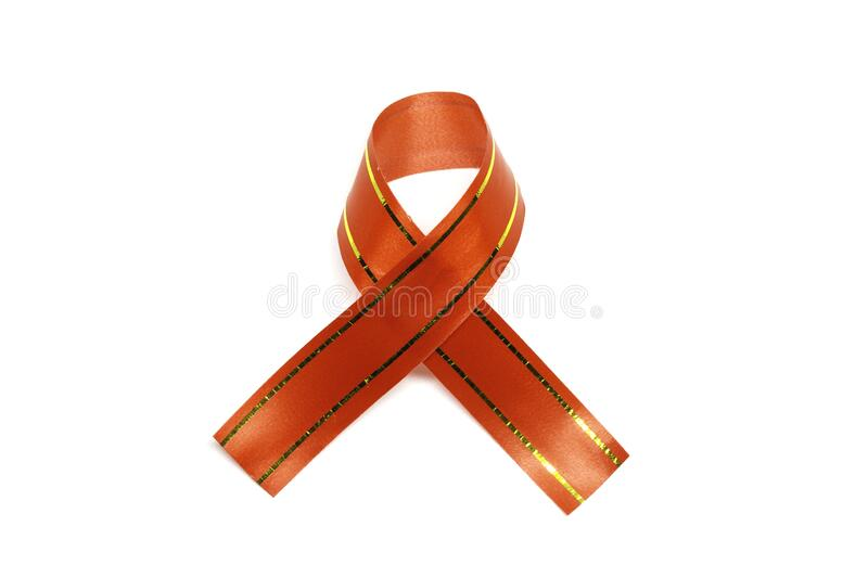 Red ribbon, stripe on white background with clipping Path. Object royalty free stock photos