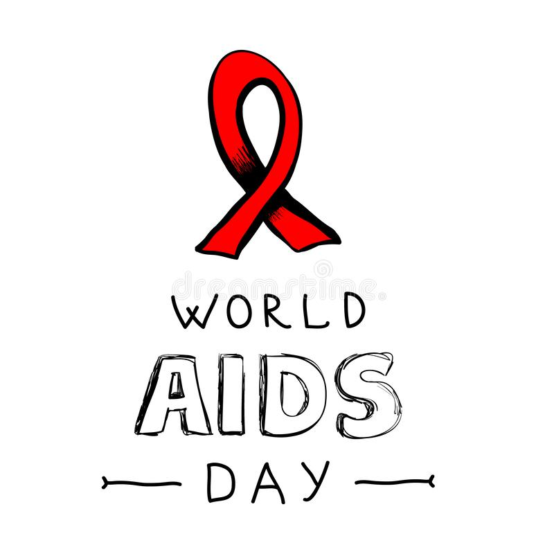 Red ribbon - symbol of fight against AIDS royalty free stock photography