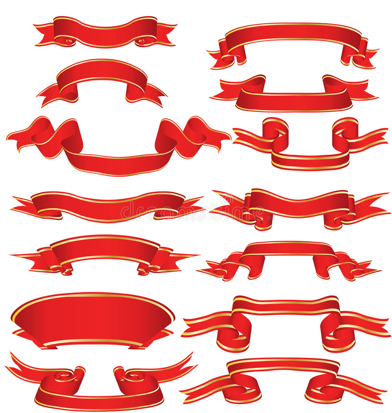 Download Red ribbons stock vector. Image of fashioned, blank, curled - 5591133