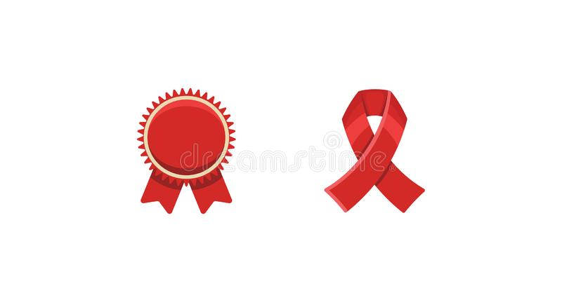 Red ribbons award, isolated on white background. Decorative ribbon banner. stock photo