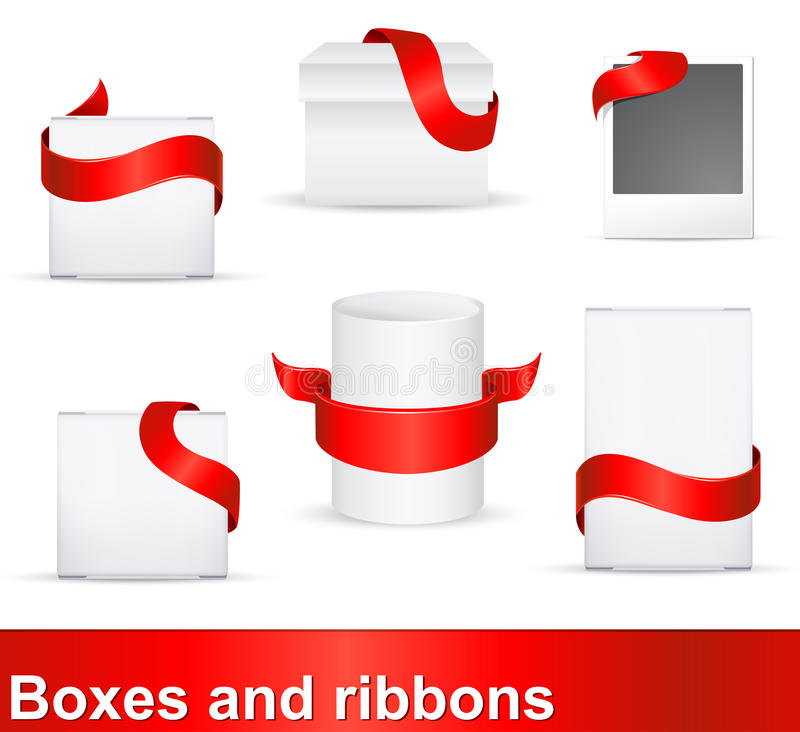 Red ribbons on boxes. Red ribbons as distinction signs on products vector illustration