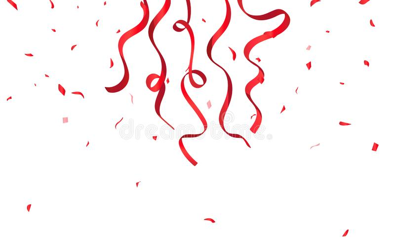 Red ribbons and confetti falling on white background, celebration, party, rewards, sales and promotion surprise concept vector stock illustration