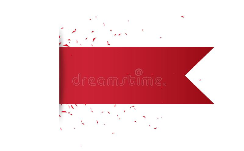 Red ribbons, decoration celebrate holiday, paper art, greeting poster card rewards background vector illustration royalty free illustration