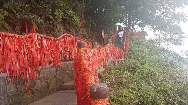 Red Ribbons in Zhangjiajie National Park stock image