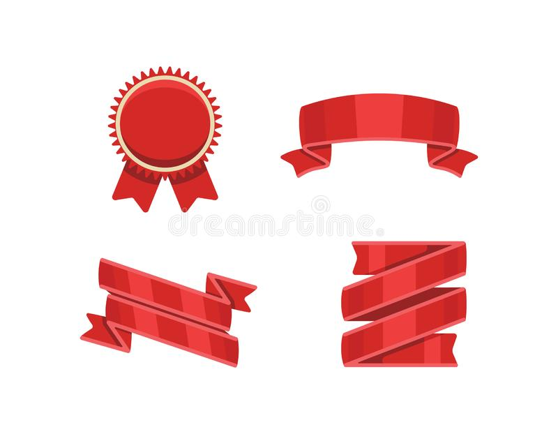 Red ribbons set, isolated on white background. Decorative ribbon banner collection. royalty free stock photography