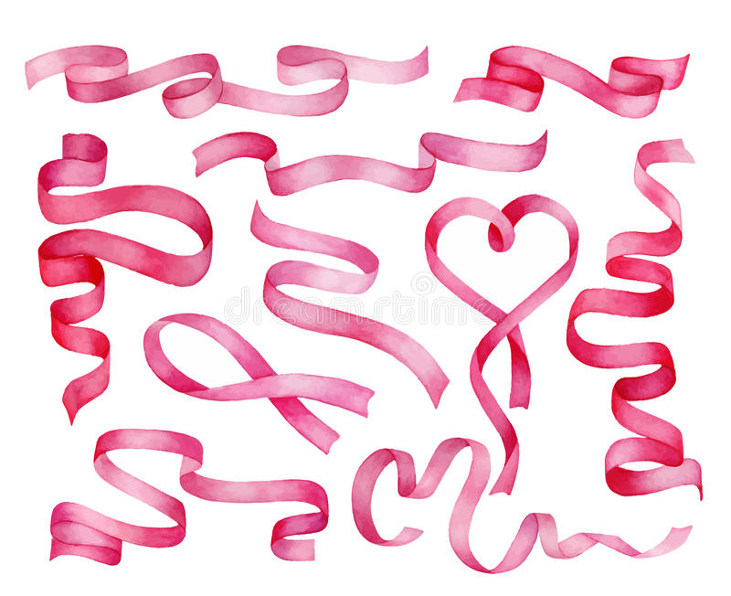 Red ribbons set vector illustration