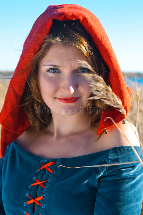 Download Red Riding  hood stock photo. Image of wall, woman, portrait - 16936582