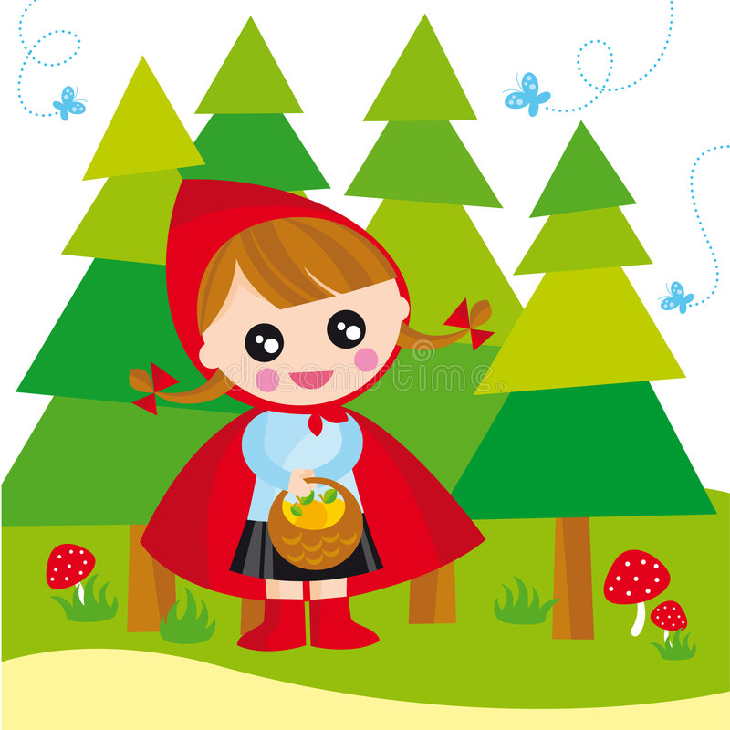 Red riding hood. Illustration of red riding hood with basket