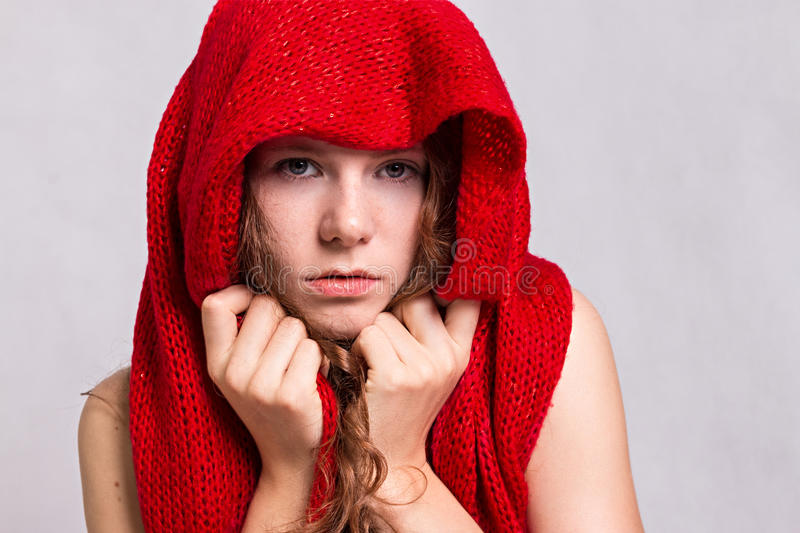 Red Riding Hood. Beauty Little Red Riding Hood royalty free stock photos