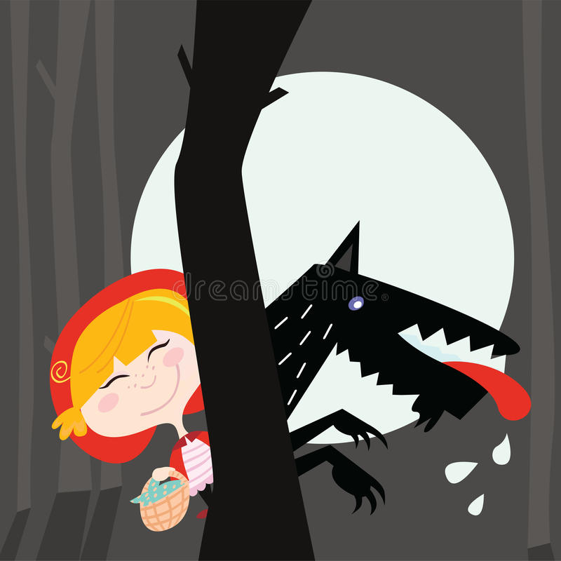 Download Red Riding Hood And Black Wolf Stock Vector - Illustration of evil, design: 11623133