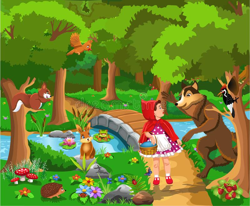 Red riding hood classic fairy tale vector illustration vector illustration