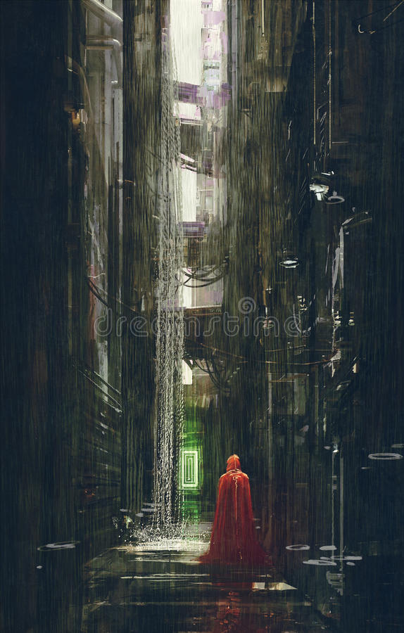 Red Riding Hood in futuristic alley,science fiction scene vector illustration