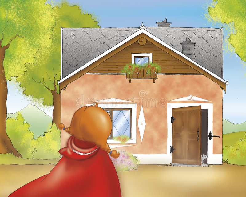 Red riding hood at grannys home vector illustration