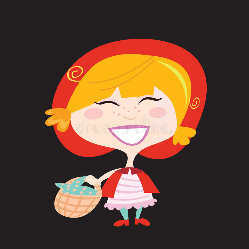 Red Riding Hood isolated on black background vector illustration