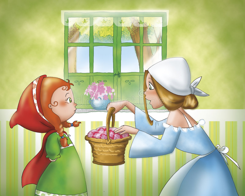 Red Riding Hood and mom. Mom is giving a small basket to Little Red Riding Hood. Digital illustration of Little Red Riding Hood tale