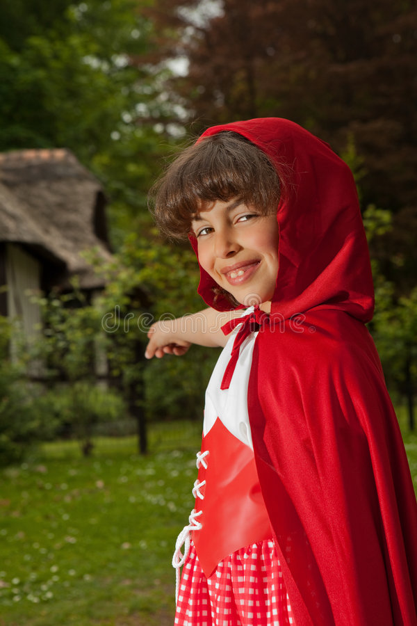 Red riding hood pointing stock images