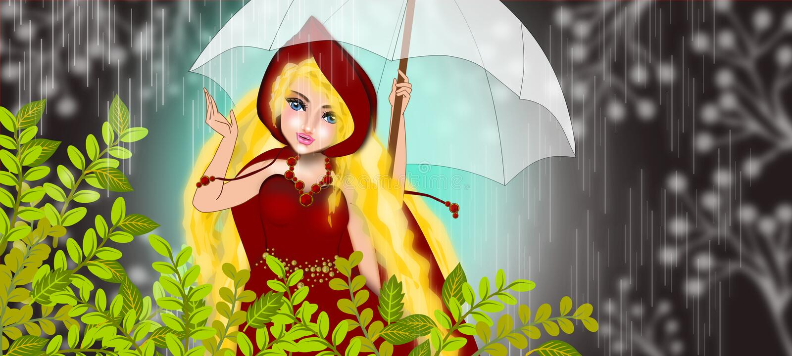 Red riding hood under the pouring rain. Beautiful red riding hood standing under the rain illustrations
