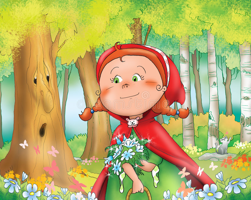 Red riding hood in the wood. Little Red Riding Hood with blue flowers in the wood. Digital illustration for children