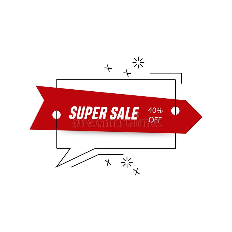 Red right arrow with 40 % discount. Sale banner template design. Big sale special offer. Red arrow with chat box icon. Special stock illustration