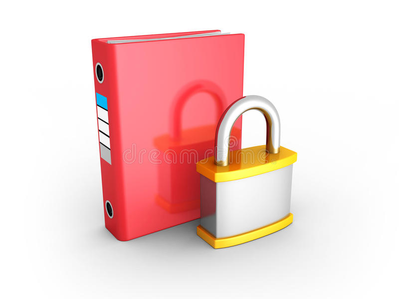 Red Ring Binder With Orange Metallic Padlock. Document Data Prot. Ection. 3d Render Illustration stock illustration