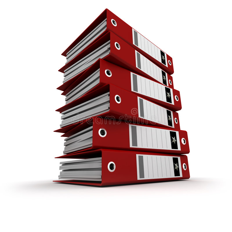 Red ring binders on a pile stock illustration