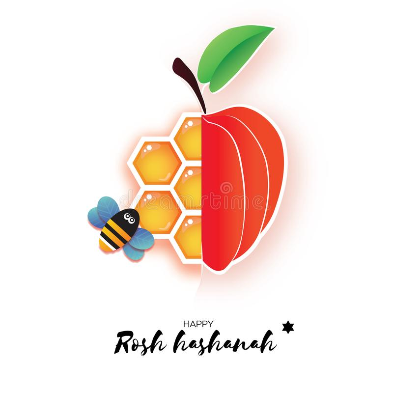 Red ripe apple and gold honeycomb. Jewish New Year, Rosh Hashanah Greeting card. Origami Honey Bee in paper cut style royalty free illustration