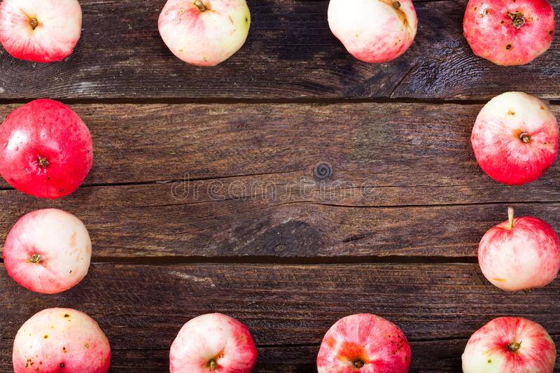 Red ripe apples. Frame made of red ripe apples on the vintage wooden table royalty free stock photo