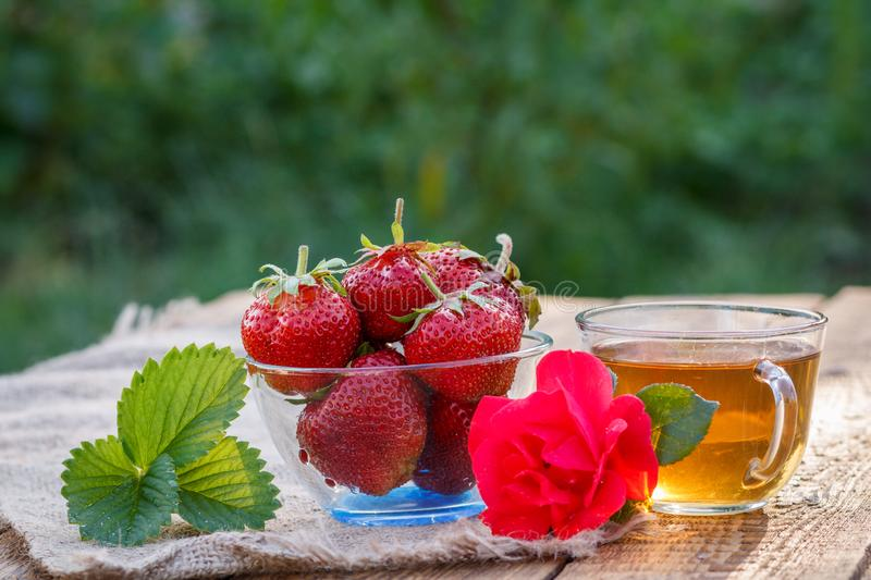 Red ripe strawberries in glass bowl and cup of green tea royalty free stock photo