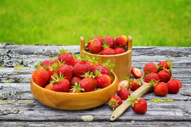 Red ripe strawberries in a wooden basket on the old boards on the background royalty free stock photo