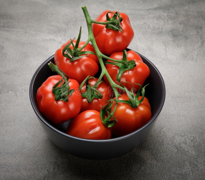 Red, ripe tomatoes on a dark background. Harvesting tomatoes. Top view of tomatoes in ceramics bowl royalty free stock photos
