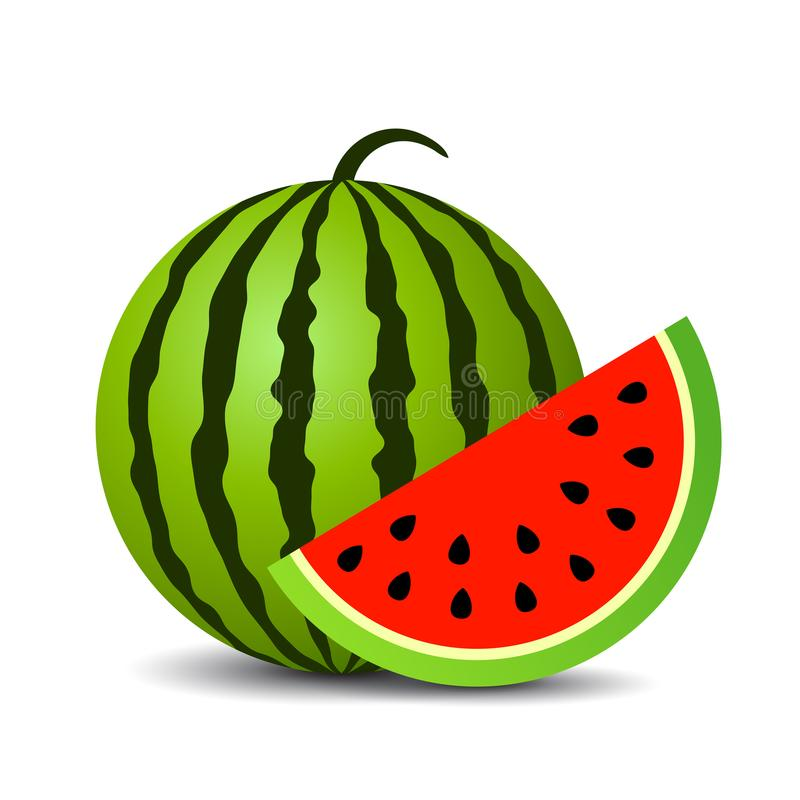 Red ripe watermelon vector icon stock illustration