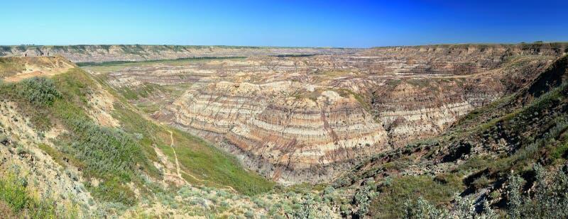 Red River Badlands på den Horsethief kanjonen nära Drumheller, Alberta fotografering för bildbyråer