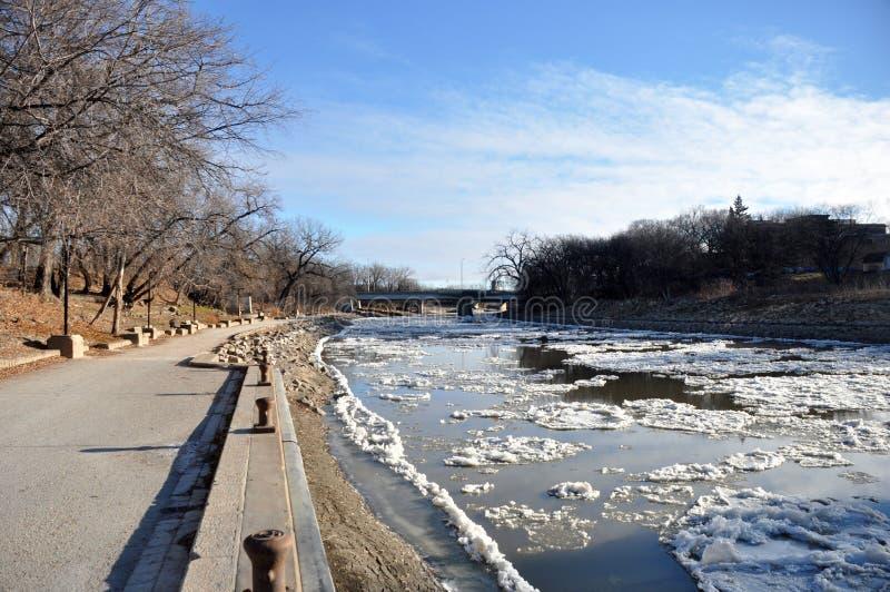 Red River i Winnipeg arkivbild
