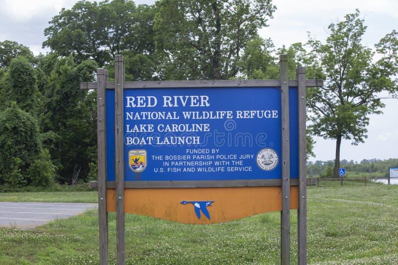 Red River nationell djurlivfristad sjö Claiborne Boat Launch Sign arkivfoto