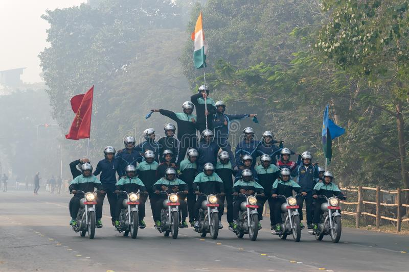 Motorbike rally by Indian Military. RED ROAD, KOLKATA, WEST BENGAL / INDIA - 21ST JANUARY 2018 : Indian miltary men showing their bike riding skills at motorbike stock images