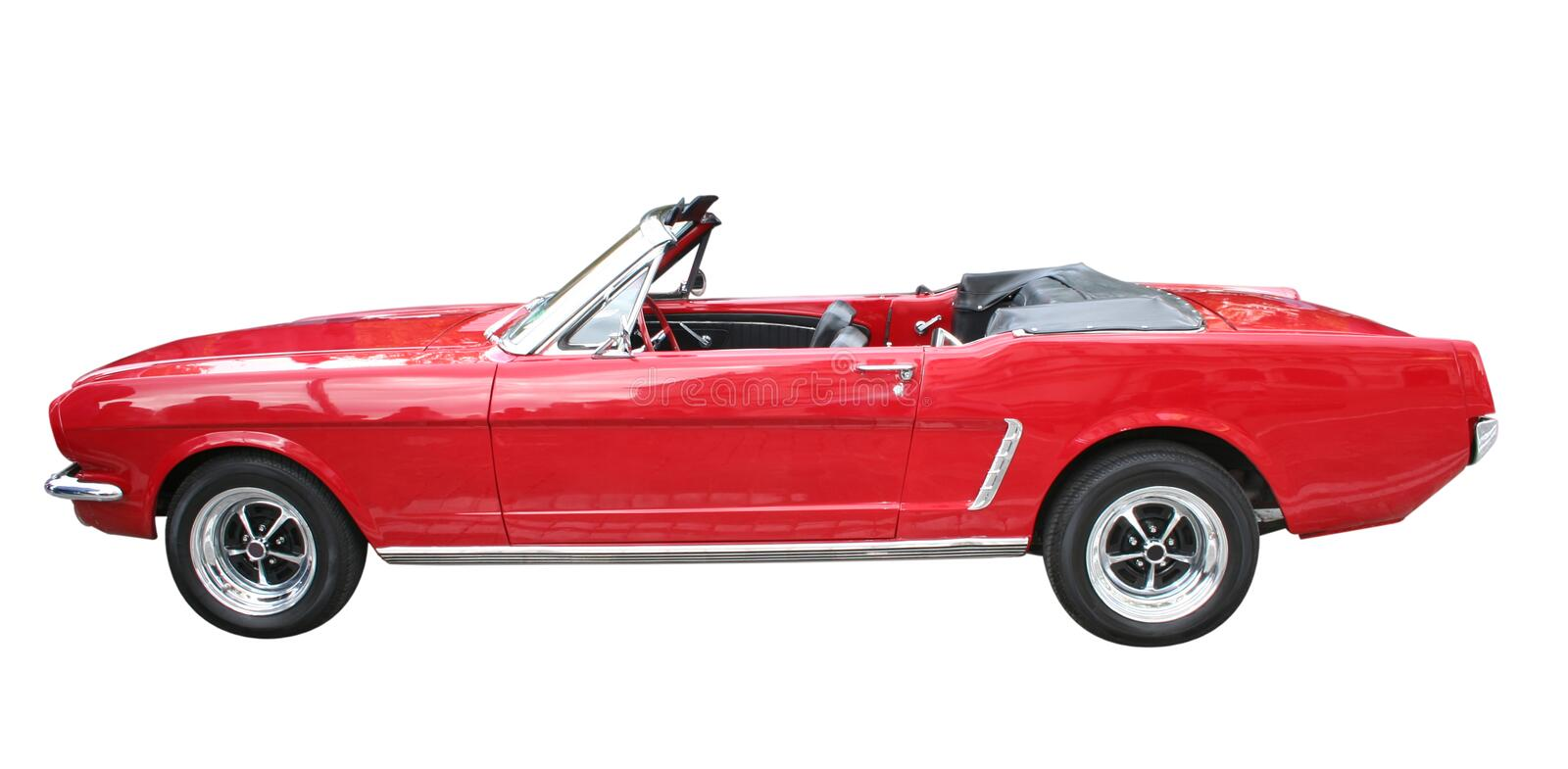 Red Roadster. Red retro convertible car isolated on white royalty free stock image