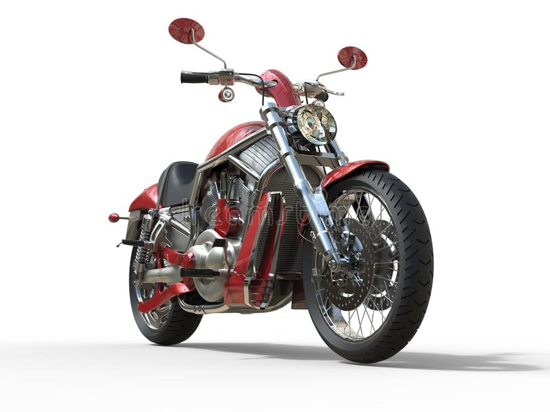 Red Roadster Bike - Front View. Isolated on white background stock photos